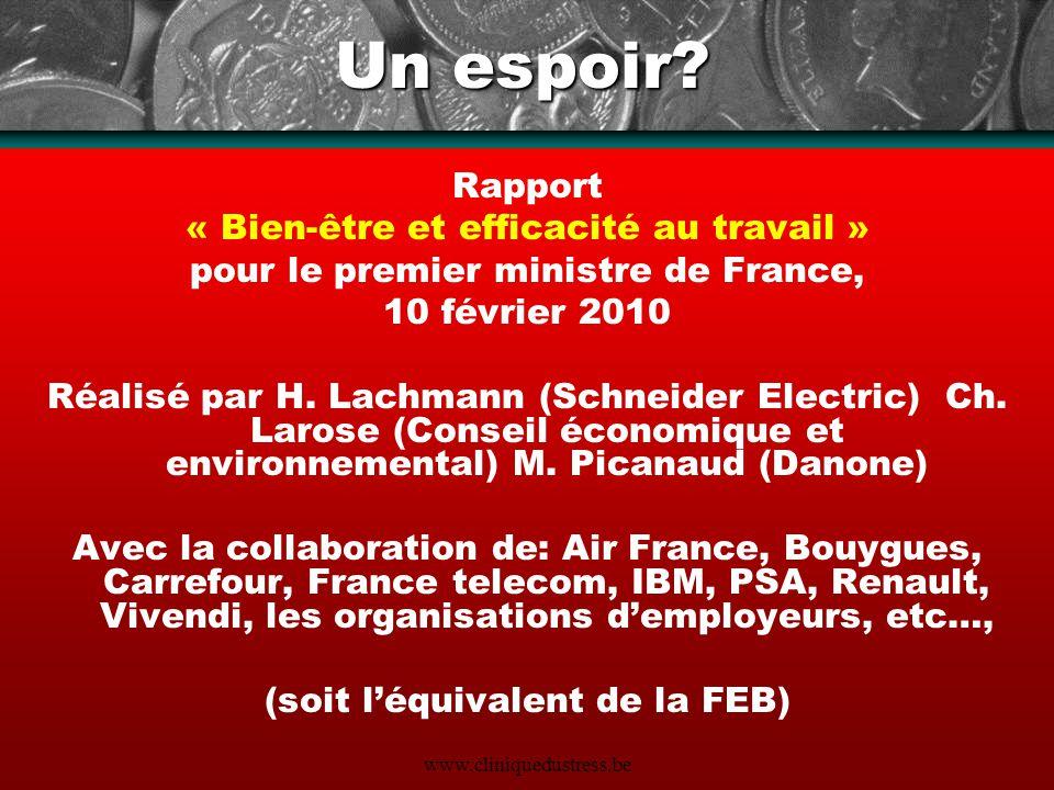 Un espoir Rapport « Bien-être et efficacité au travail »