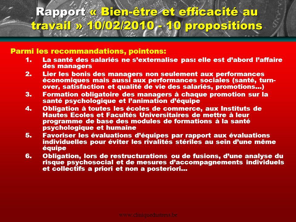 Rapport « Bien-être et efficacité au travail » 10/02/2010 - 10 propositions