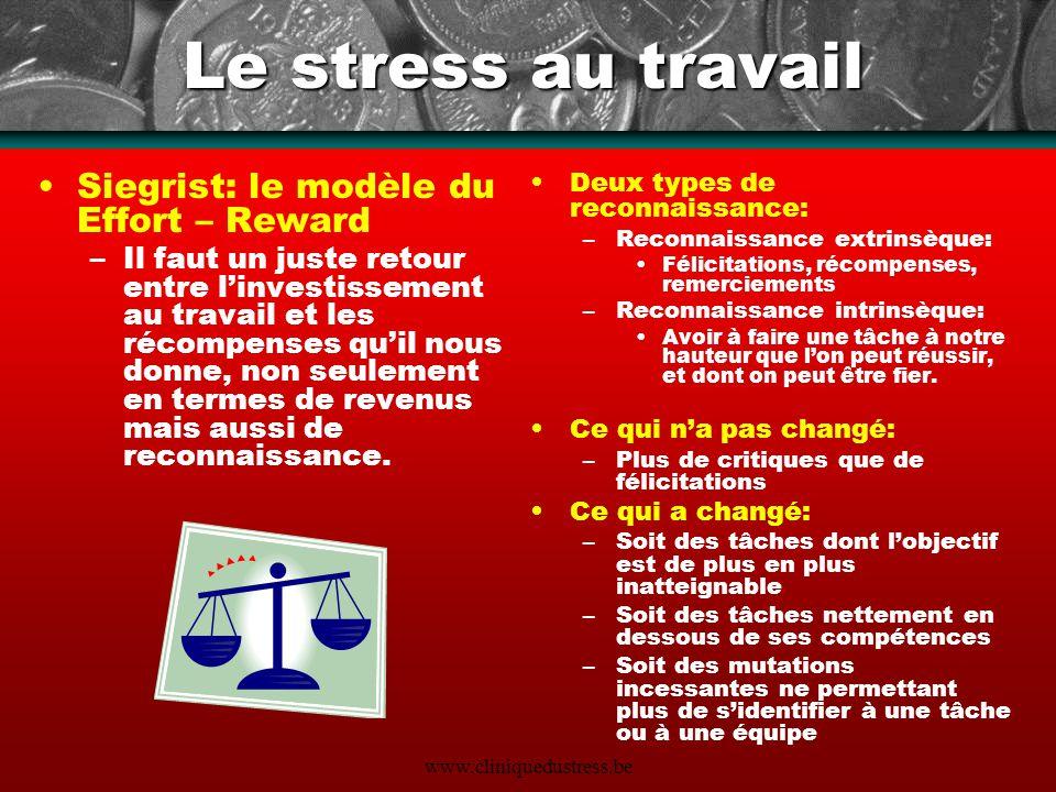 Le stress au travail Siegrist: le modèle du Effort – Reward