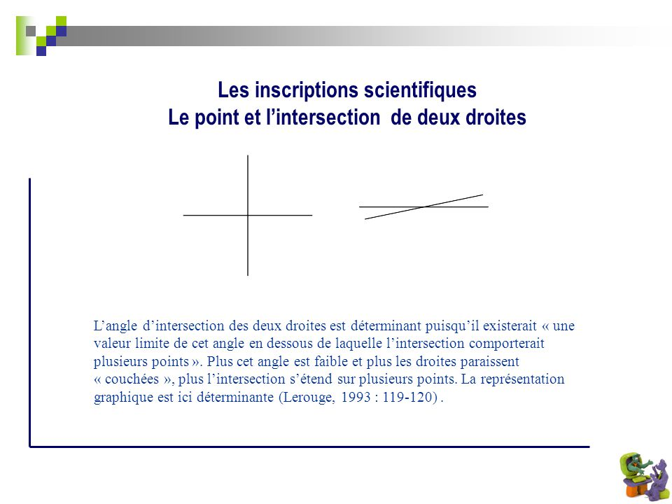 Les inscriptions scientifiques Le point et l'intersection de deux droites