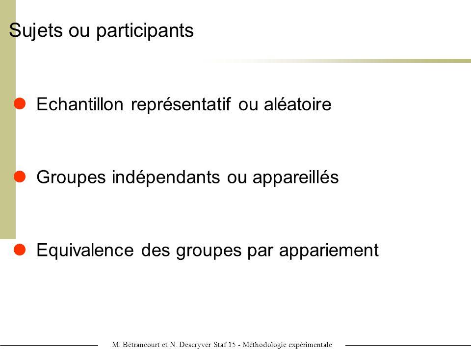 Sujets ou participants