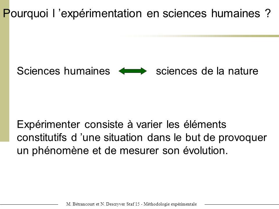 M. Bétrancourt et N. Descryver Staf 15 - Méthodologie expérimentale
