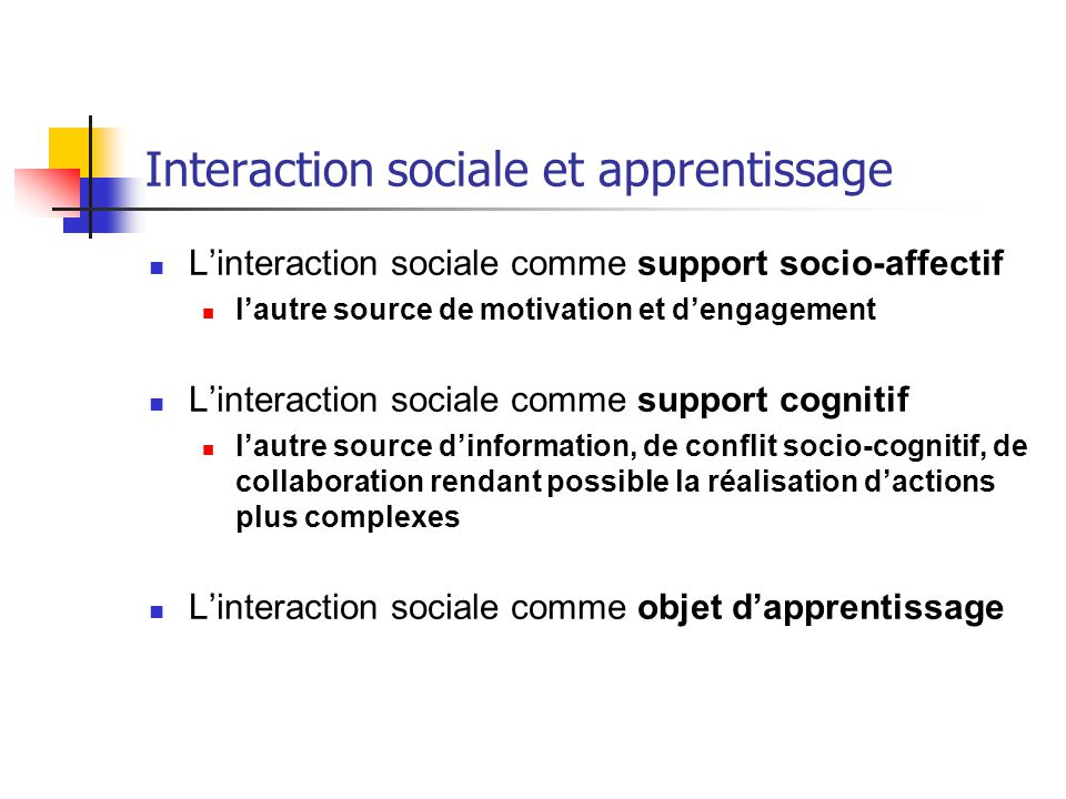 Interaction sociale et apprentissage