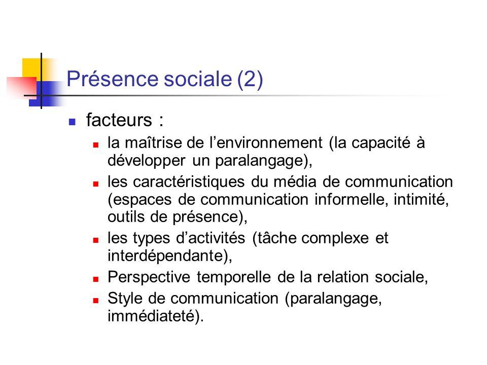 Présence sociale (2) facteurs :