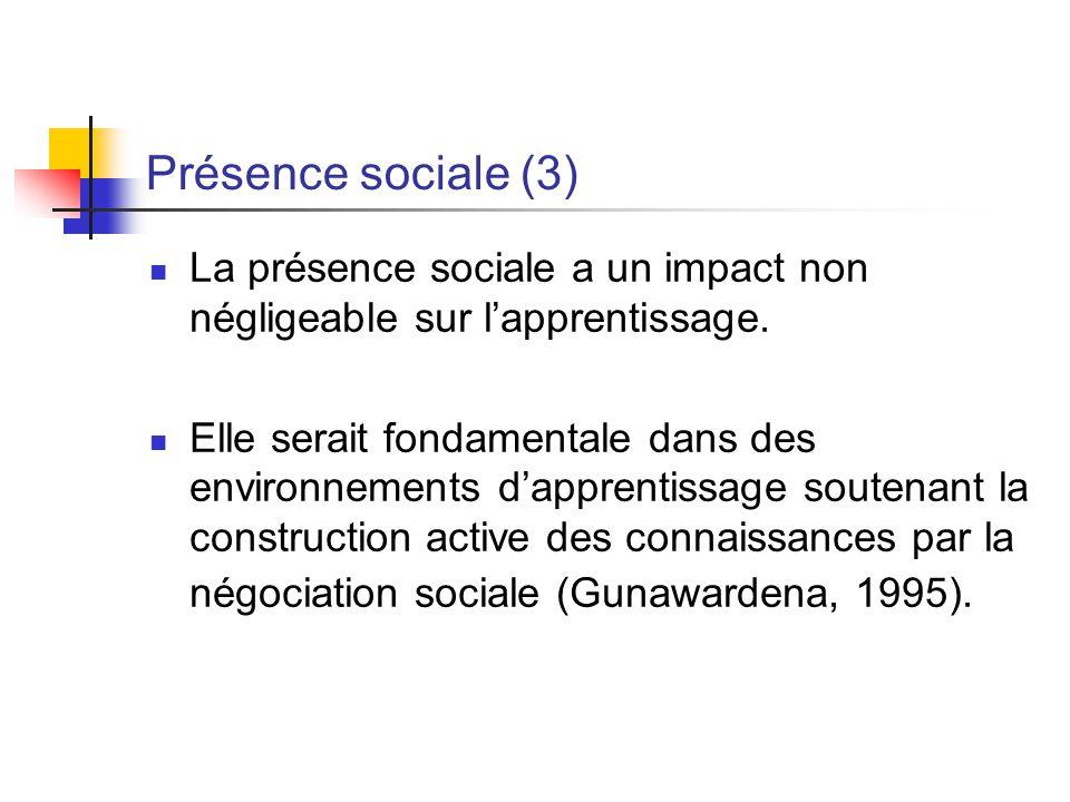 Présence sociale (3) La présence sociale a un impact non négligeable sur l'apprentissage.