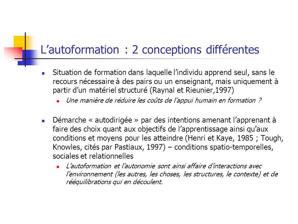 L'autoformation : 2 conceptions différentes