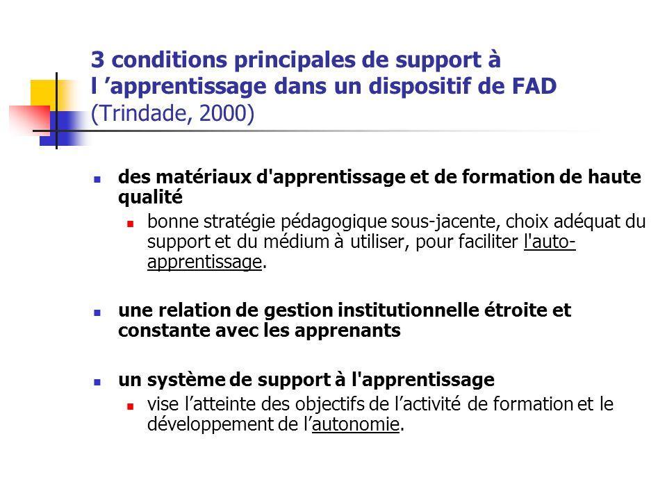 3 conditions principales de support à l 'apprentissage dans un dispositif de FAD (Trindade, 2000)
