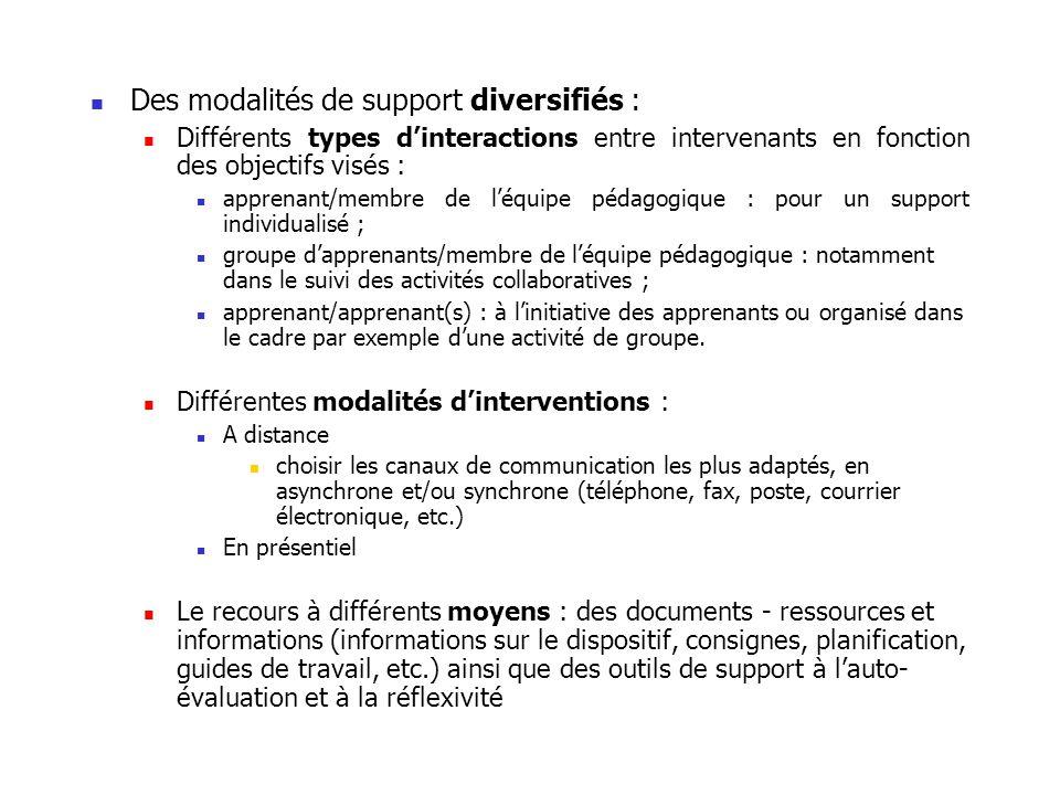 Des modalités de support diversifiés :