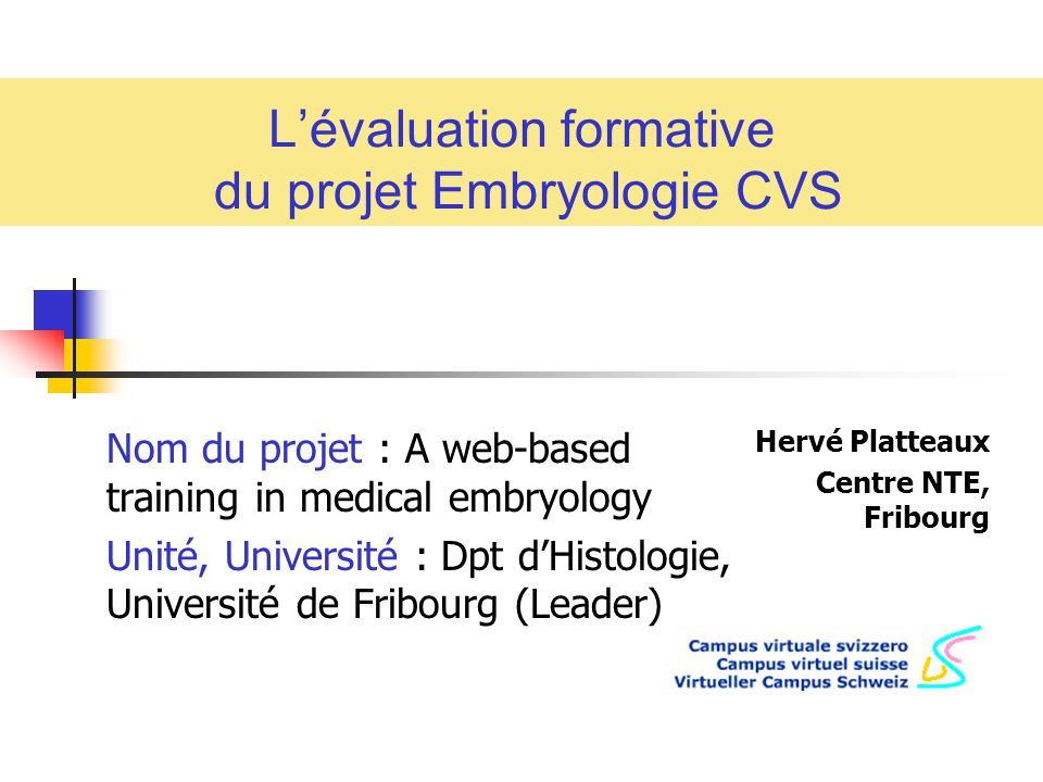 l u2019 u00e9valuation formative du projet embryologie cvs
