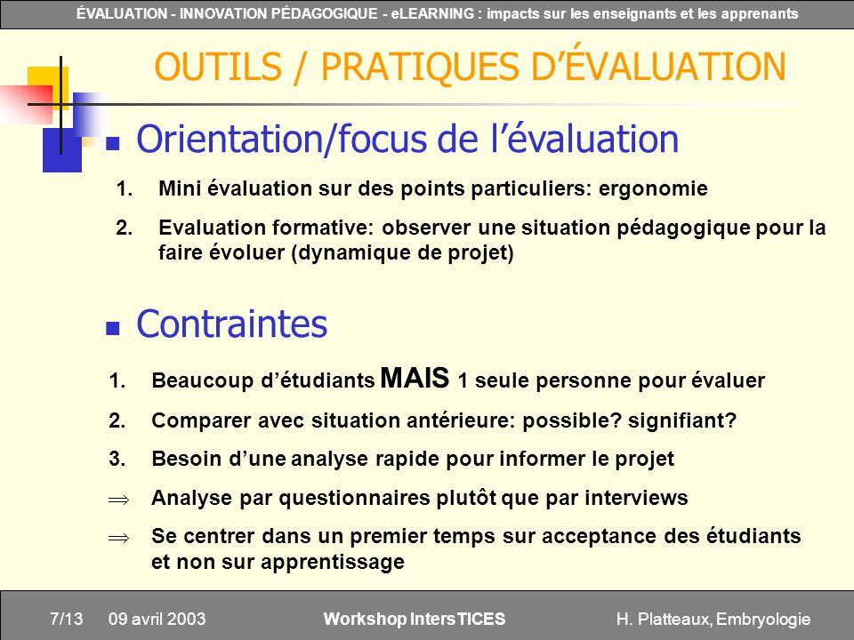OUTILS / PRATIQUES D'ÉVALUATION