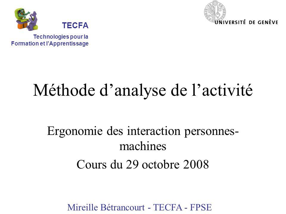 Méthode d'analyse de l'activité