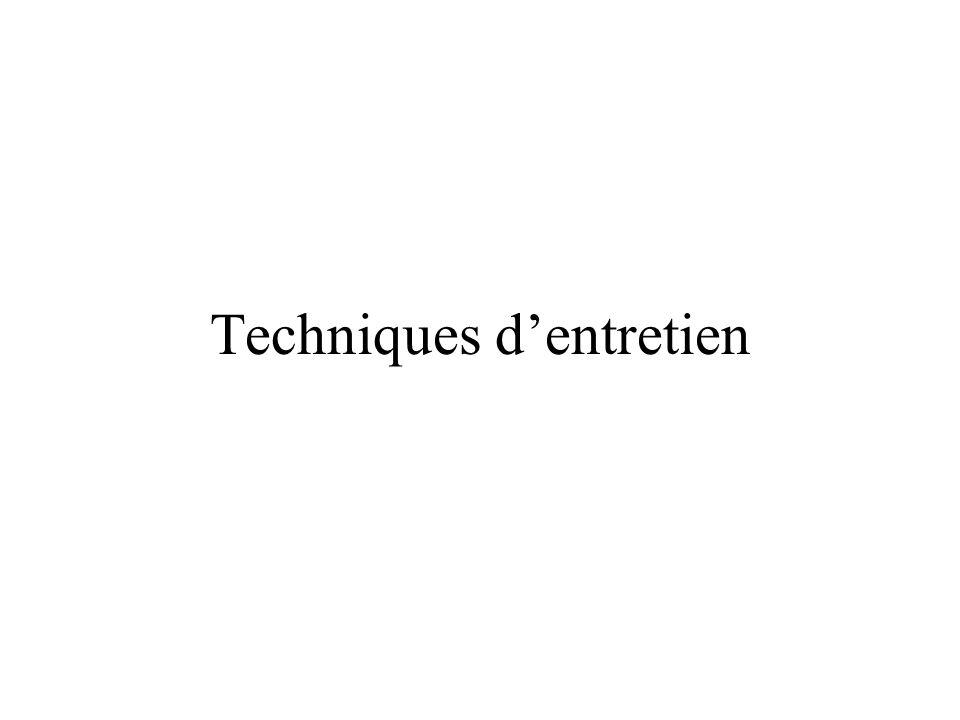 Techniques d'entretien