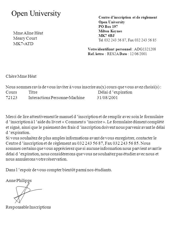 Open University Mme Aline Héat Meary Court MK7-ATD Chère Mme Héat