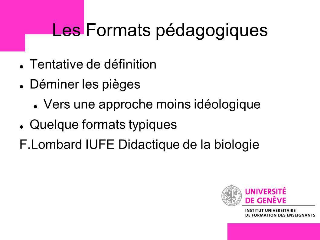 Les Formats pédagogiques
