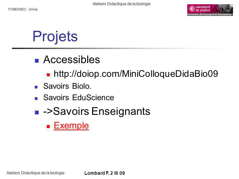Projets Accessibles ->Savoirs Enseignants
