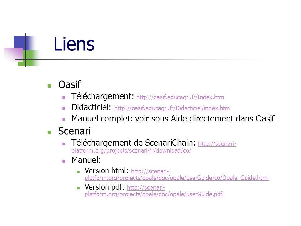 Liens Oasif Scenari Téléchargement: http://oasif.educagri.fr/Index.htm