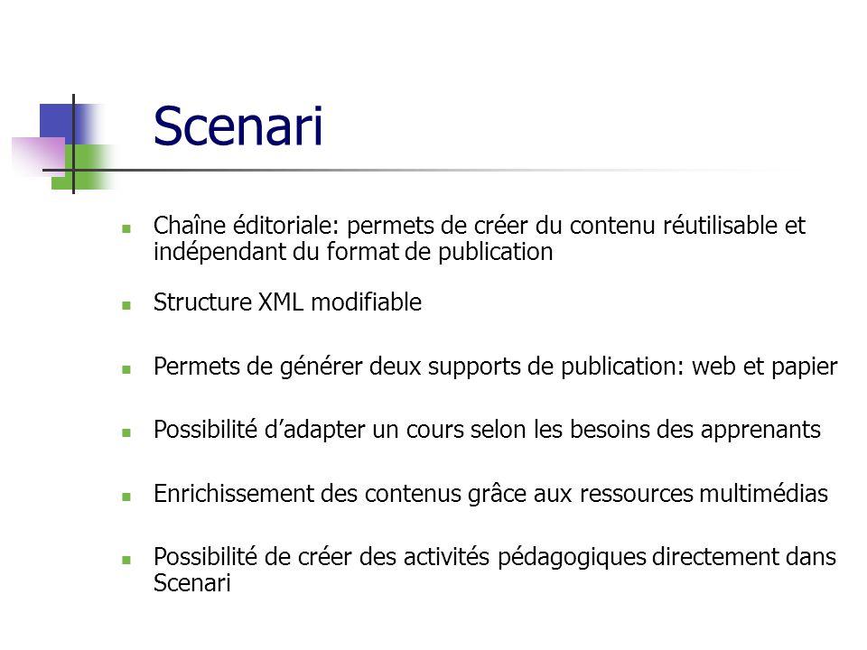 Scenari Chaîne éditoriale: permets de créer du contenu réutilisable et indépendant du format de publication.