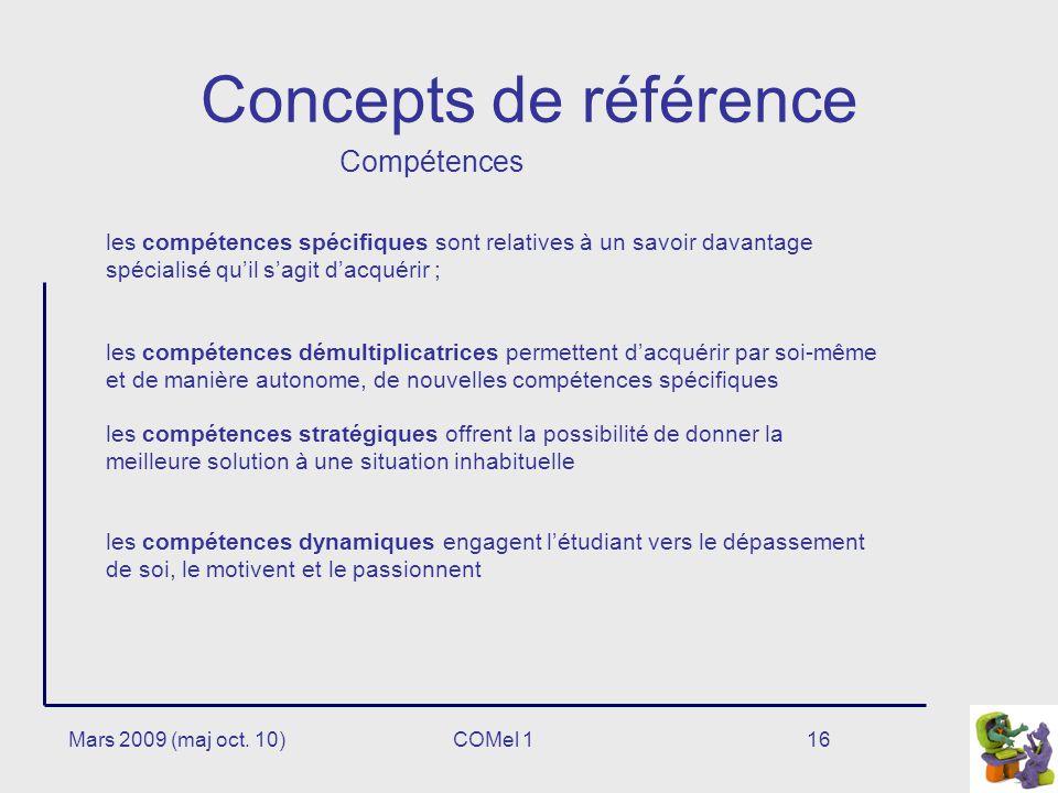 Concepts de référence Compétences