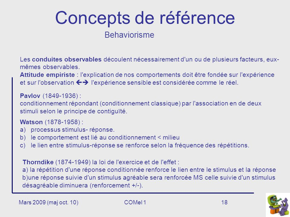 Concepts de référence Behaviorisme