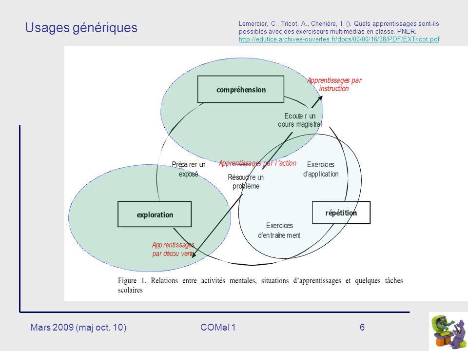 Usages génériques Mars 2009 (maj oct. 10) COMel 1