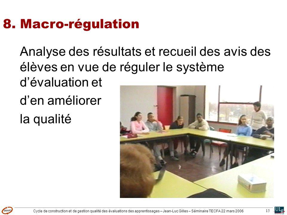 8. Macro-régulation Analyse des résultats et recueil des avis des élèves en vue de réguler le système d'évaluation et.