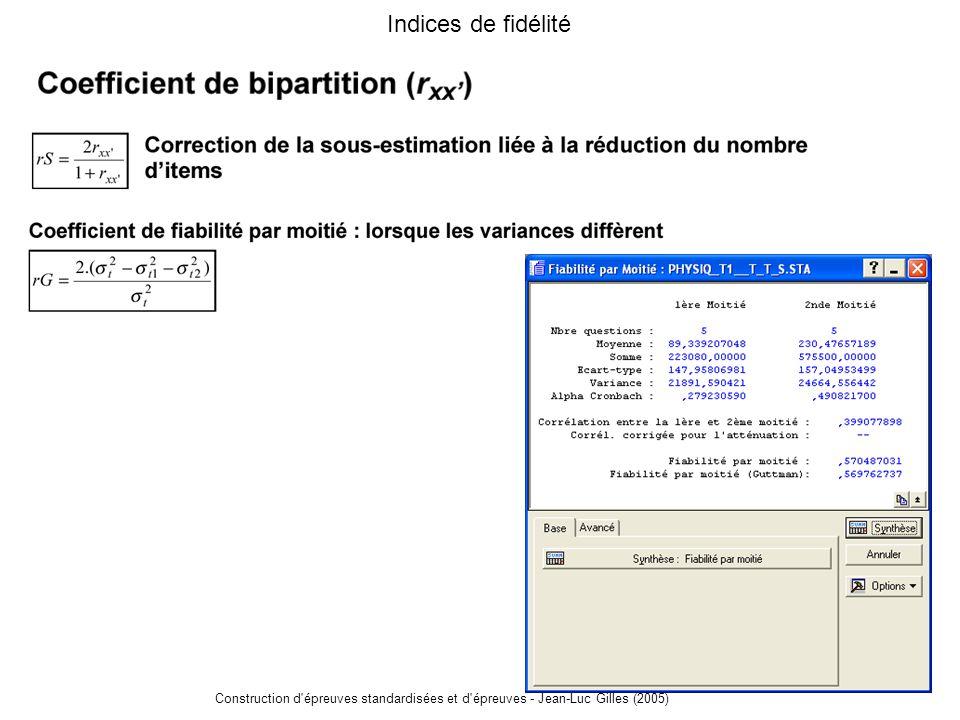 Indices de fidélité Construction d épreuves standardisées et d épreuves - Jean-Luc Gilles (2005)