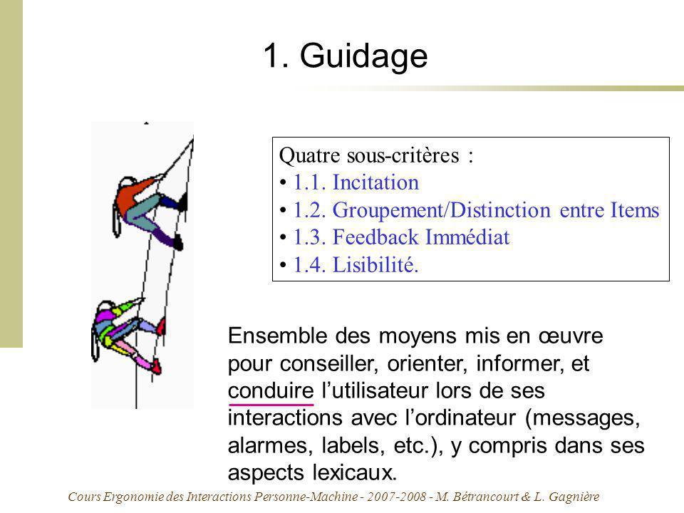 1. Guidage Quatre sous-critères : 1.1. Incitation