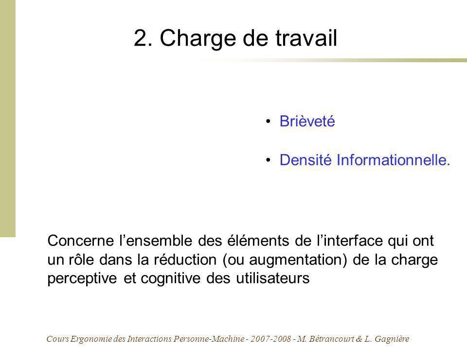 2. Charge de travail Brièveté Densité Informationnelle.