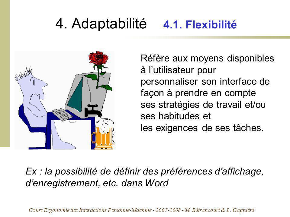 4. Adaptabilité 4.1. Flexibilité