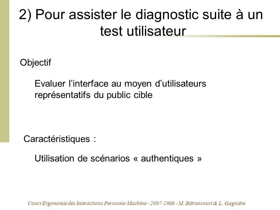 2) Pour assister le diagnostic suite à un test utilisateur