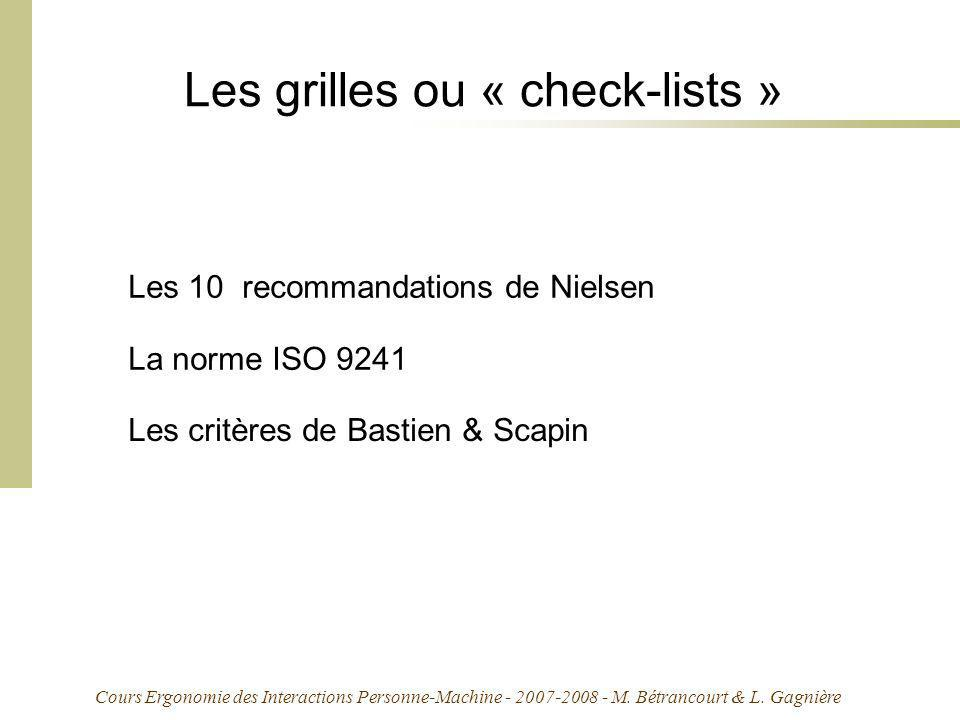 Les grilles ou « check-lists »