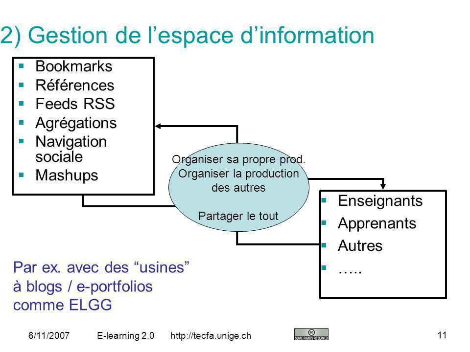 2) Gestion de l'espace d'information