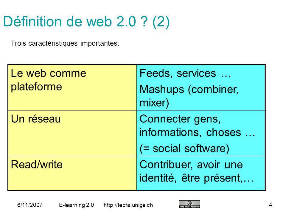 Définition de web 2.0 (2) Le web comme plateforme Feeds, services …