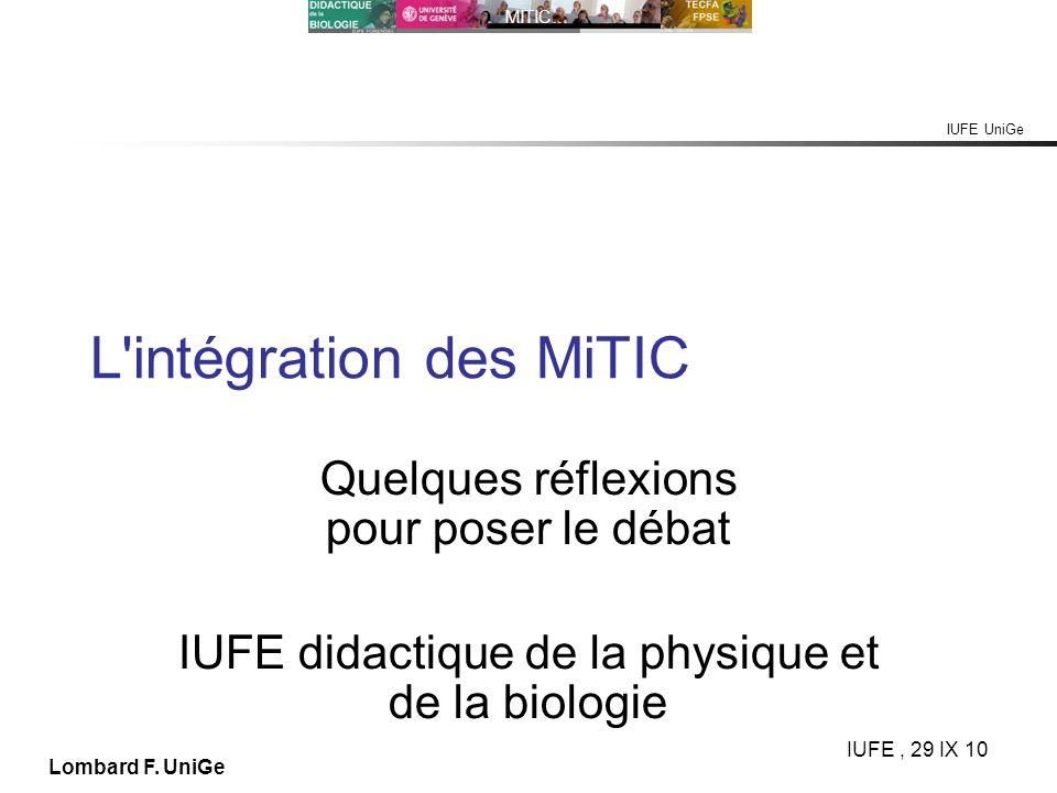 L intégration des MiTIC