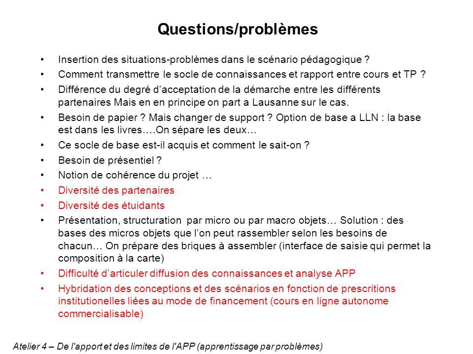 Questions/problèmes Insertion des situations-problèmes dans le scénario pédagogique