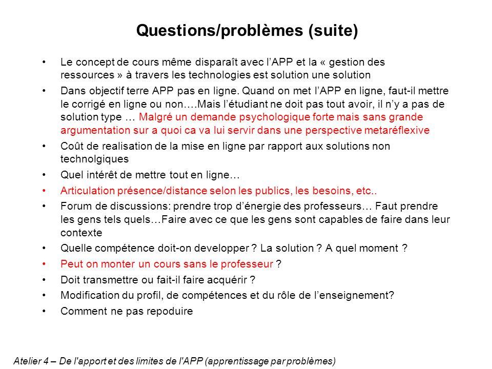 Questions/problèmes (suite)