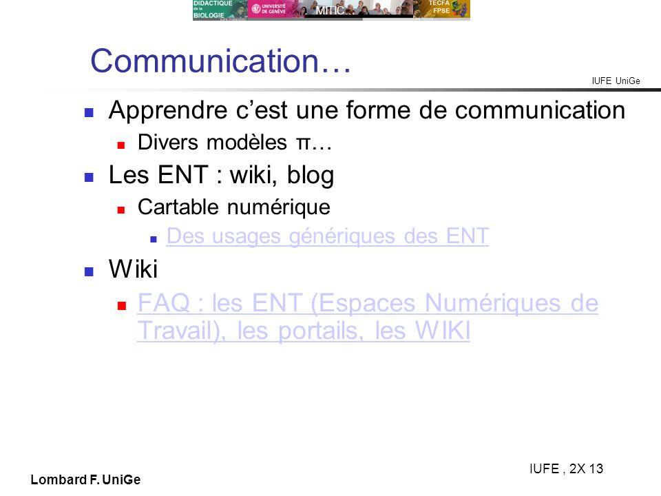 Communication… Apprendre c'est une forme de communication