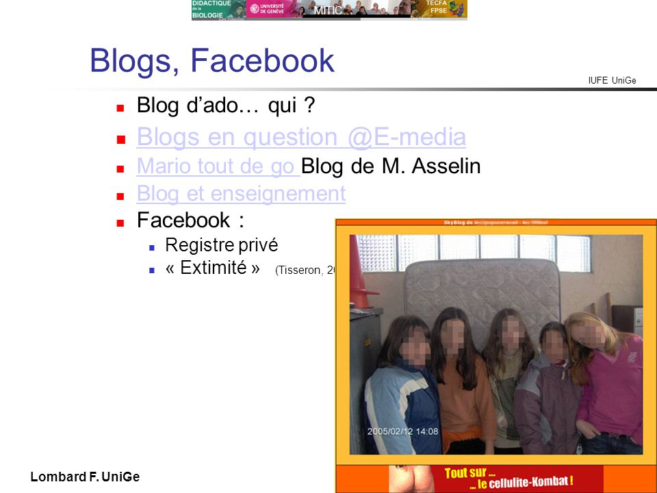 Blogs, Facebook Blogs en question @E-media Blog d'ado… qui