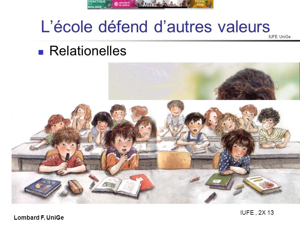 L'école défend d'autres valeurs