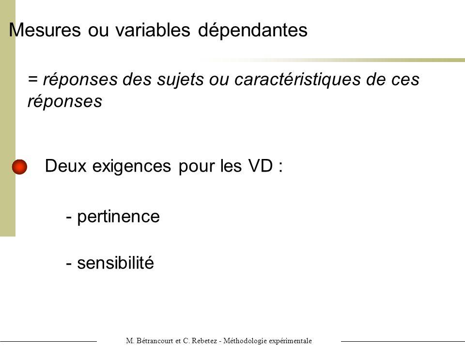 Mesures ou variables dépendantes