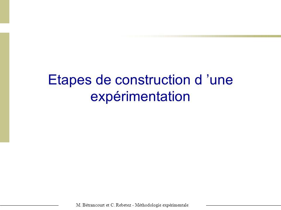 Etapes de construction d 'une expérimentation