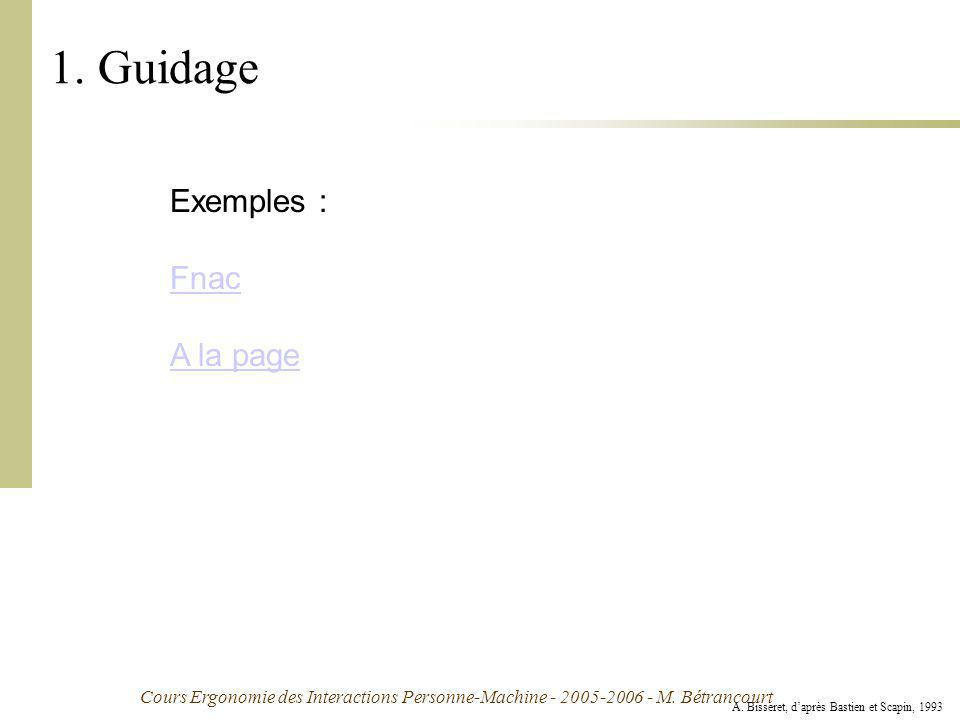 1. Guidage Exemples : Fnac A la page Exemple :