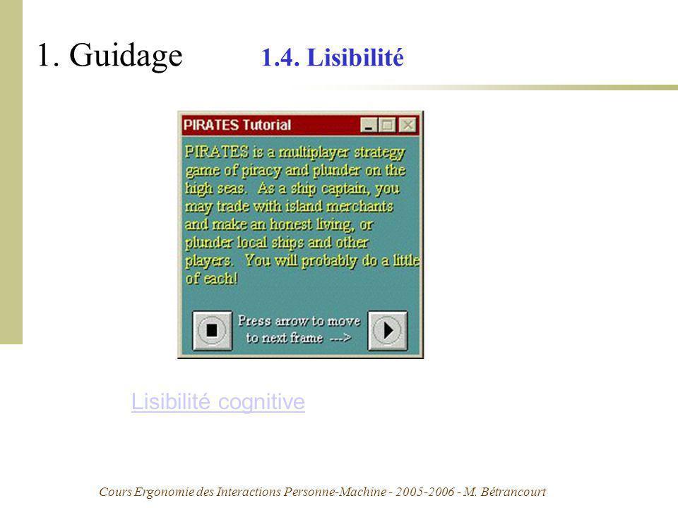 1. Guidage 1.4. Lisibilité Lisibilité cognitive
