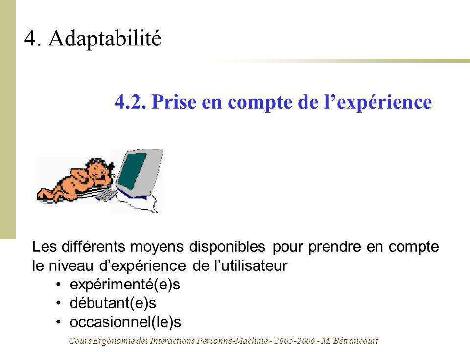 4. Adaptabilité 4.2. Prise en compte de l'expérience