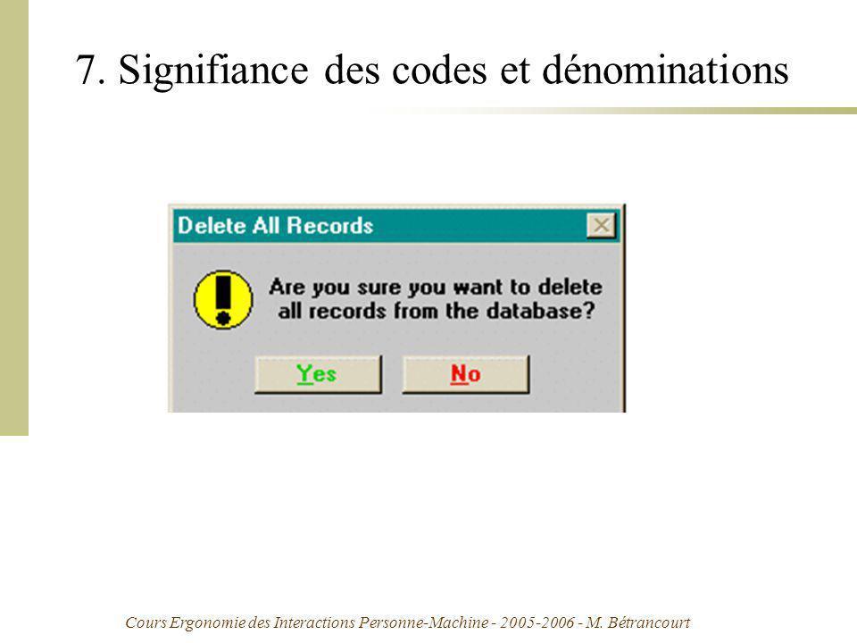 7. Signifiance des codes et dénominations