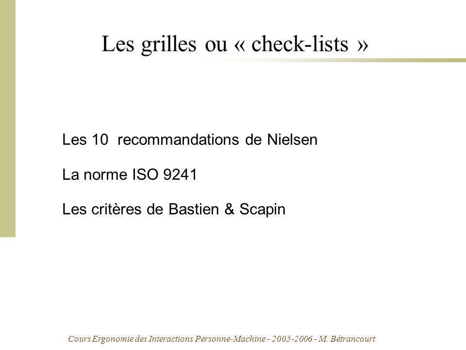Les grilles ou « check-lists »