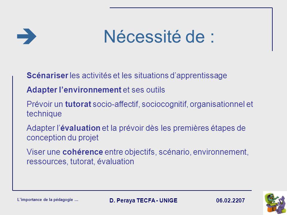  Nécessité de : Scénariser les activités et les situations d'apprentissage. Adapter l'environnement et ses outils.