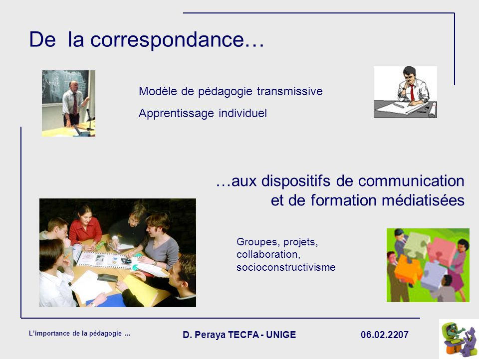 De la correspondance… Modèle de pédagogie transmissive. Apprentissage individuel. …aux dispositifs de communication et de formation médiatisées.