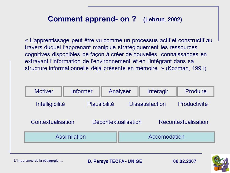Comment apprend- on (Lebrun, 2002)