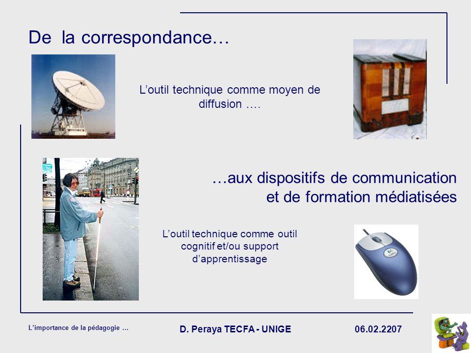 De la correspondance… L'outil technique comme moyen de diffusion …. …aux dispositifs de communication et de formation médiatisées.